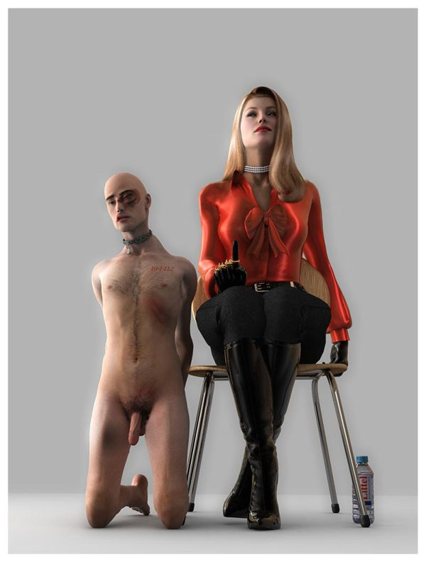 Formal mistress and bruised slave