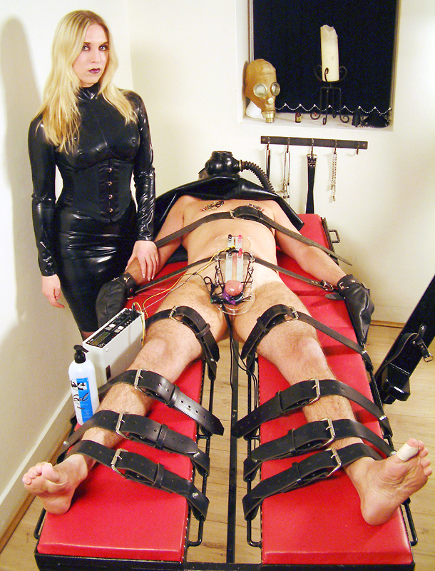 Straps, gas mask and electo torture