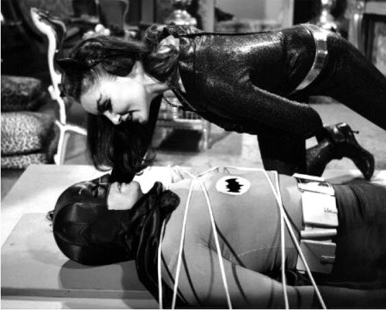 Julie Newmar's Catwoman taunting Adam West's Batman