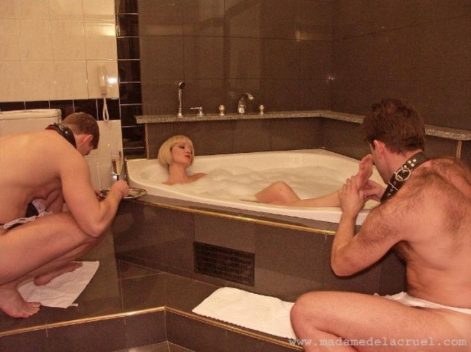 Pampered mistress in bath