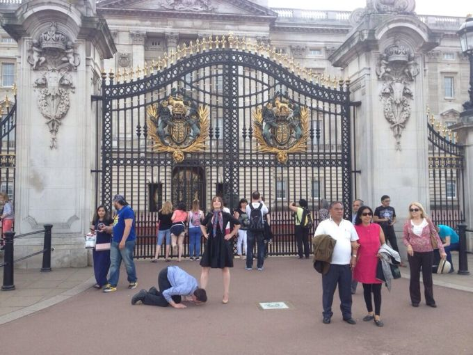 Posed outside Buckingham Palace